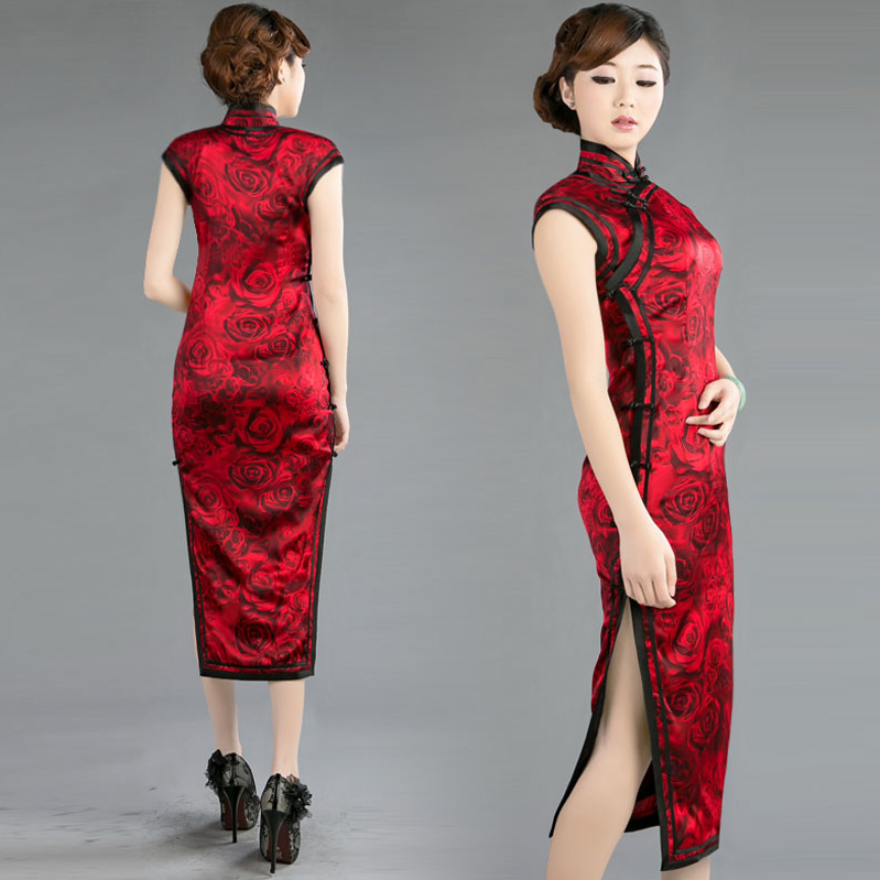 Sleeveless-burgundy-red-modern-qipao-long-floral-cheongsam-Chinese-traditional-bridal-wedding-dress-004